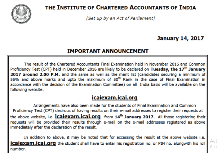 CA Final Result Nov 2016 ANNOUNCEMENT by ICAI
