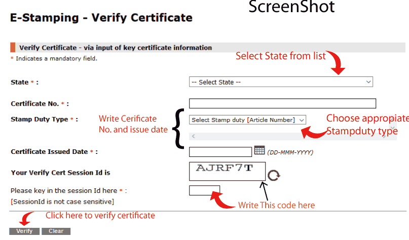 Fill details in e-stamp Certificate shcilestamp form