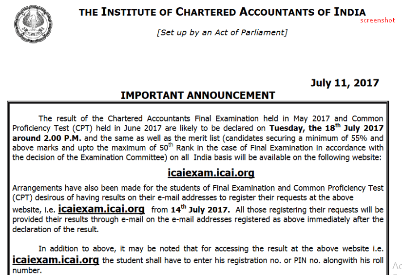 icai announcement ca final may 2017 caresults