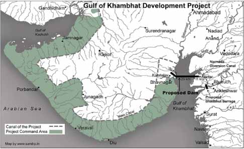 Kalpasar Project - Gujarat map where Kalpsar Yojana Dam